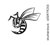 bee logo. vector angry black... | Shutterstock .eps vector #650979253