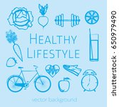 concept of a healthy lifestyle  ... | Shutterstock .eps vector #650979490