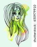 watercolor graphic illustration ... | Shutterstock . vector #650979910