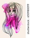 watercolor graphic illustration ... | Shutterstock . vector #650980099