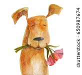 red dog with flowers.... | Shutterstock . vector #650987674