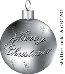 Vector Illustration of silver Merry Christmas ornament isolated. - stock vector
