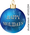 Vector Illustration of blue gold happy holidays ornament isolated. - stock vector