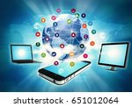 internet concept of smart phone ... | Shutterstock . vector #651012064