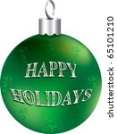 Vector Illustration of green and silver happy holidays ornament isolated. - stock vector