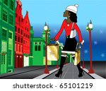 Vector Illustration of a black woman Christmas shopping with bags dressed fashionably. - stock vector