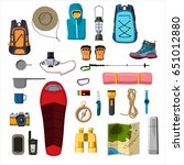 hiking equipment | Shutterstock .eps vector #651012880