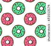 hand drawn colorful donut...   Shutterstock .eps vector #651013174