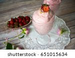 strawberry mousse in a glass... | Shutterstock . vector #651015634