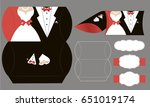 bride and groom candy die box.... | Shutterstock .eps vector #651019174
