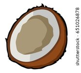isolated cut coconut on a white ... | Shutterstock .eps vector #651026878