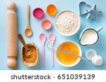baking utensils and ingredients.... | Shutterstock . vector #651039139