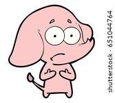 cartoon unsure elephant   Shutterstock .eps vector #651044764