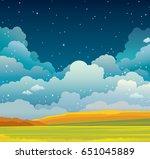 autumn vector landscape with... | Shutterstock .eps vector #651045889