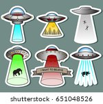 vector retro flying saucers  | Shutterstock .eps vector #651048526