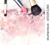 makeup brushes and lipstick on... | Shutterstock . vector #651051283