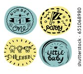 four baby logo with handwriting.... | Shutterstock .eps vector #651068980