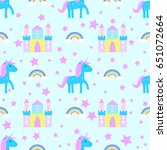 unicorn pattern seamless vector | Shutterstock .eps vector #651072664