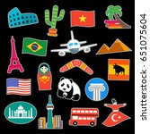 travel stickers vector set | Shutterstock .eps vector #651075604
