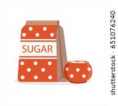 red dotted pack of sugar and... | Shutterstock .eps vector #651076240