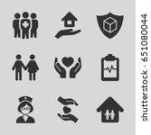 insurance icons set. set of 9... | Shutterstock .eps vector #651080044