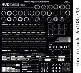 set black and white hud... | Shutterstock .eps vector #651085714