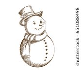 christmas snowman vintage... | Shutterstock .eps vector #651088498