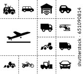 vehicle icon. set of 13 filled...