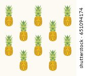 pineapple seamless pattern.... | Shutterstock .eps vector #651094174