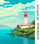 lighthouse on coast of sea ... | Shutterstock .eps vector #651095194