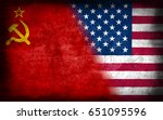 soviet union and usa flag  with ... | Shutterstock . vector #651095596