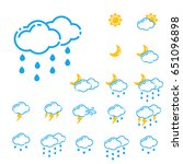 set of weather icons vector... | Shutterstock .eps vector #651096898