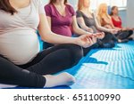 group of pregnant woman in yoga ... | Shutterstock . vector #651100990