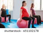 pregnant women on pilates ball... | Shutterstock . vector #651102178