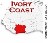 3d map of ivory coast with... | Shutterstock . vector #651102364