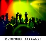 silhouettes of concert crowd in ... | Shutterstock . vector #651112714