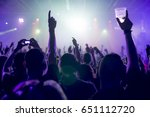 silhouettes of concert crowd in ... | Shutterstock . vector #651112720