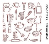 vector doodle set of... | Shutterstock .eps vector #651119920