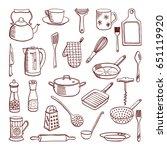 vector doodle set of... | Shutterstock .eps vector #651119920