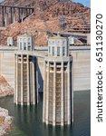 hoover dam intake towers | Shutterstock . vector #651130270