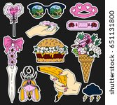 summer patch badges with bug... | Shutterstock .eps vector #651131800