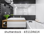black and white bathroom with... | Shutterstock . vector #651134614