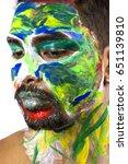 male model face paint | Shutterstock . vector #651139810