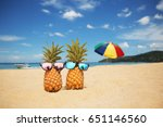 couple of attractive pineapples ... | Shutterstock . vector #651146560