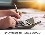woman with calculator. | Shutterstock . vector #651160930