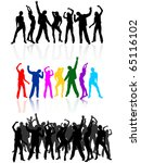dancing people silhouettes  ... | Shutterstock .eps vector #65116102
