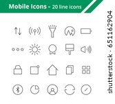 icons in line style for mobile...
