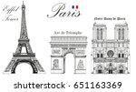 vector eiffel tower  triumphal... | Shutterstock .eps vector #651163369