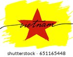 vietnam flag painted text... | Shutterstock .eps vector #651165448