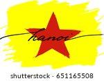 vietnam flag calligraphy text... | Shutterstock .eps vector #651165508